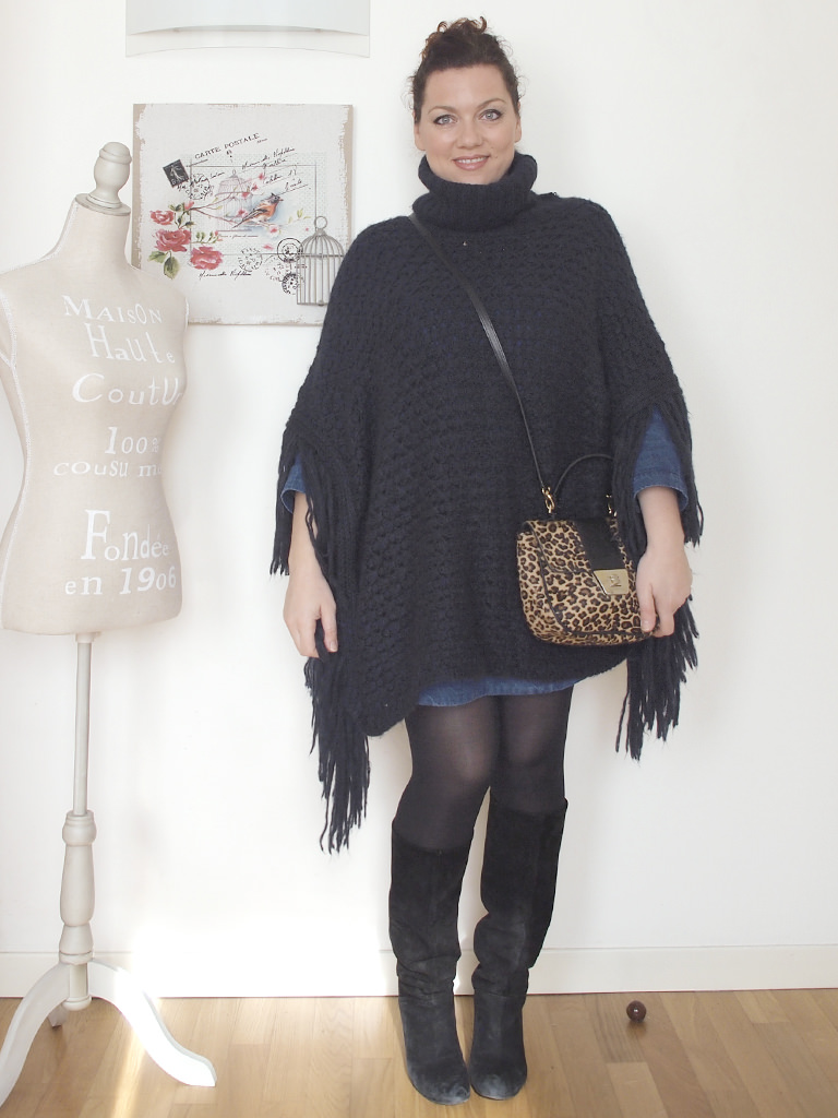 VerdementaBlog_outfit_curvy_abito_denim_Penneys_poncho_frange_taglia48