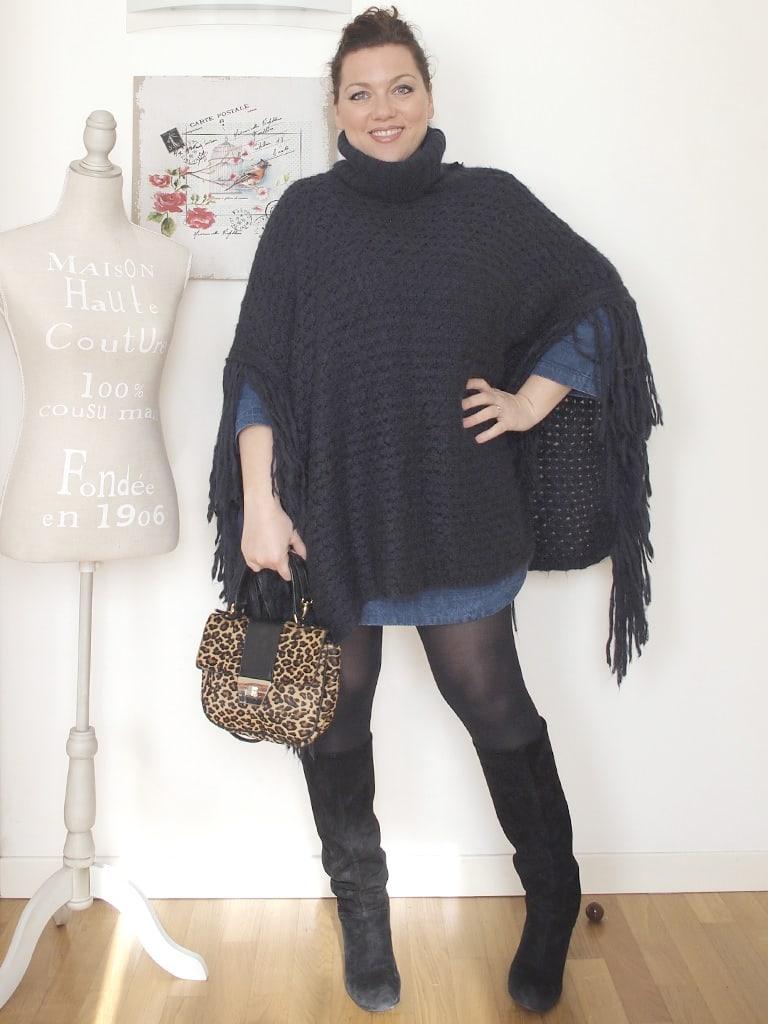 VerdementaBlog_outfit_curvy_abito_denim_Penneys_poncho_lana_frange_Taglia48