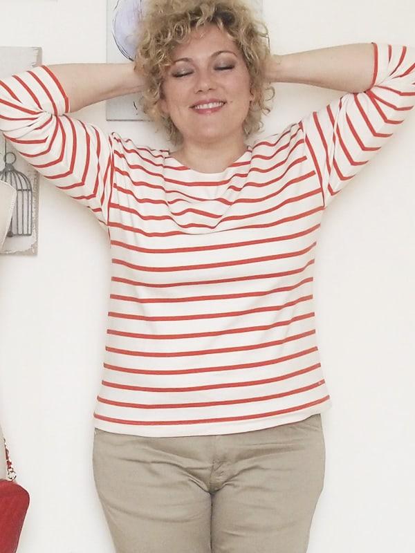 Verdementa-Fashion-blog-outfit-curvy-taglia48-casual-pantaloni-chinos-maglia-righe-3