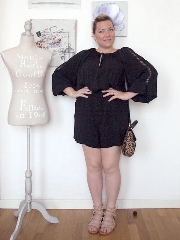 outfit curvy taglia 46-48 con tuta intera corta