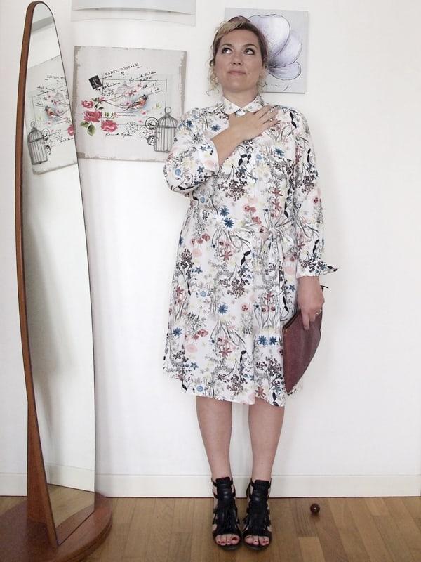 Verdementa Fashion Blog Curvy Italiano, outfit curvy taglia 46-48 con abito longuette a fiori