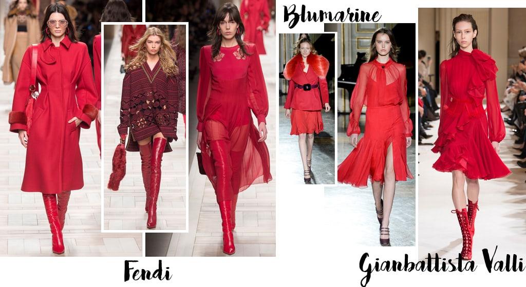 Tendenze moda autunno inverno 2017-18, colore rosso